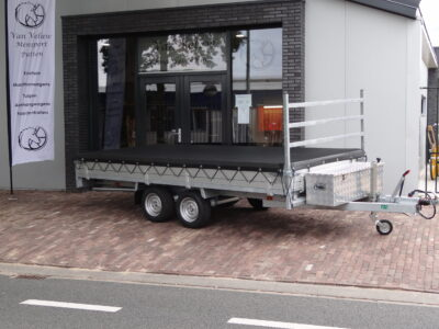 anssems plateauwagen nieuw aanhangwagen putten met kist en net